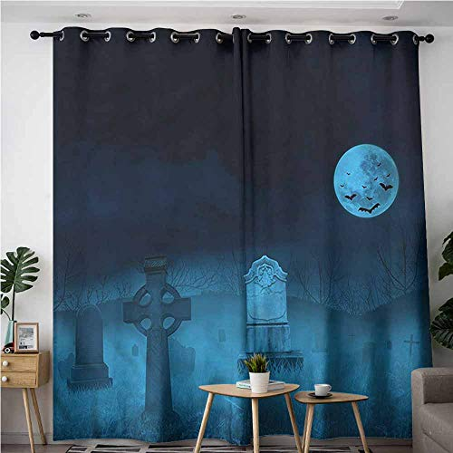 AndyTours Home Curtains,Gothic Ghostly Graveyard Halloween,Energy Efficient, Room Darkening,W96x72L]()
