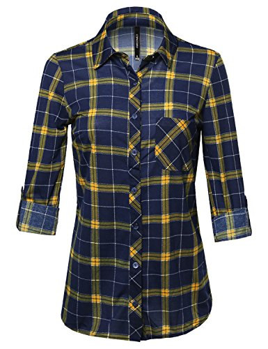 Awesome21 Casual Classic Roll Tab Sleeve Button Plaid Button Down Shirts Navy Mustard S