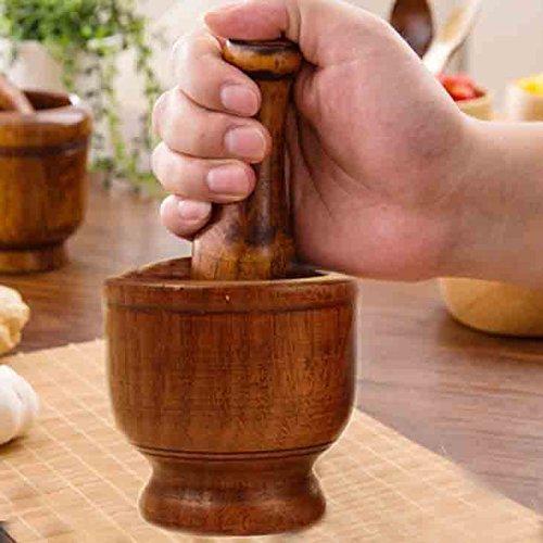 H/ölzerner handgemachter Bambus-Knoblauch-Pf/ünder-M/örser und Stampfe-Knoblauch-Presse-Gew/ürz-Zerkleinerungsmaschine