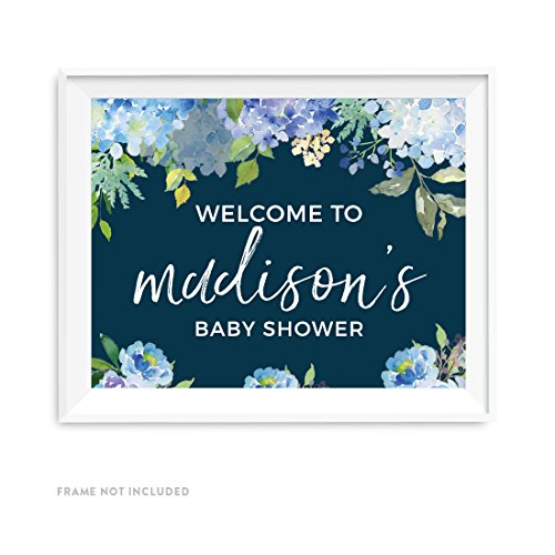 Welcome Hydrangea (Andaz Press Navy Blue Hydrangea Floral Garden Party Baby Collection, Personalized Party Signs, Welcome to Madison's Baby Shower Sign, 8.5x11-inch, 1-Pack, Custom Made Any Name)
