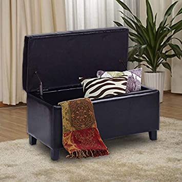 Giantex 32 Storage Ottoman Bench Faux Leather Seat Tufted Footrest with Lift Top, Black