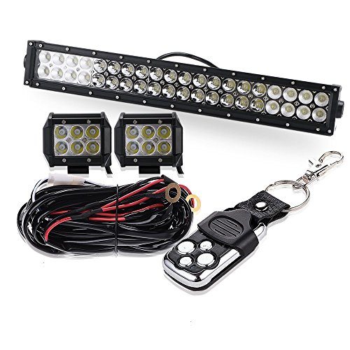 """20″22″ 120W Led Work Light Bar Straight Spot Flood Combo Beam with 4""""Cube Lights and 3 Lead Remote Control Wiring Harness kit Fit for SUV UTV Boat Tractor Marine Boats Pickup"""