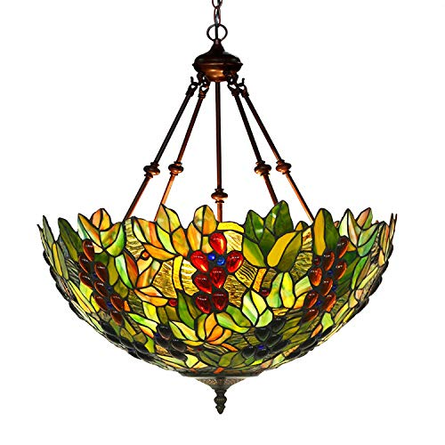(MAGCOLOR Chandeliers, Tiffany Style Stained Glass Raisin Grape Hanging Lamp with 18 inches Handmade Lampshade, Suitable for Decorating)