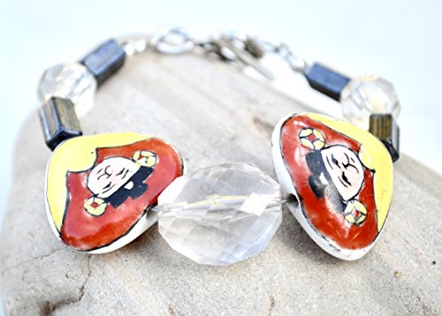 Avant Garde Handmade Lamp work Red Face Antique WW2 Czech Glass Beads heart Faces Ceramic Chinese Cloisonné Bracelet S