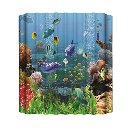 Jialili New Ocean Beach Cartoon Animal Turtle Fish Dolphin Print Bathroom Decor Waterproof Shower Curtain with 12 Hooks 3D 180x180cm