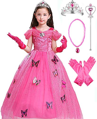 SweetNicole Aurora Crystal Princess Party Costume Dress with Accessories (3-4, Pink Style) ()