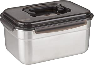 "STENCOC Stainless Steel BPA Free Rectangular Leakproof Airtight Kimchi/Pickle/Food Storage Container Saver (3.6L / 122oz / 9.8"") One Handle Half-Transparent Lid Stackable"