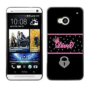 Design for Girls Plastic Cover Case FOR HTC One M7 Diva Crown Queen Heart Locked Black Polka OBBA
