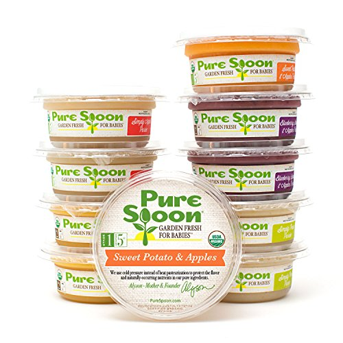 Pure Spoon Garden Fresh Organic Fruit Medley Stage 1 & 2 Baby Food Sampler, 4.2oz (Pack of 10)
