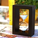 10 Minute Hourglass Glass Sand Timer Sand Mini clock timer in Black Frame-White