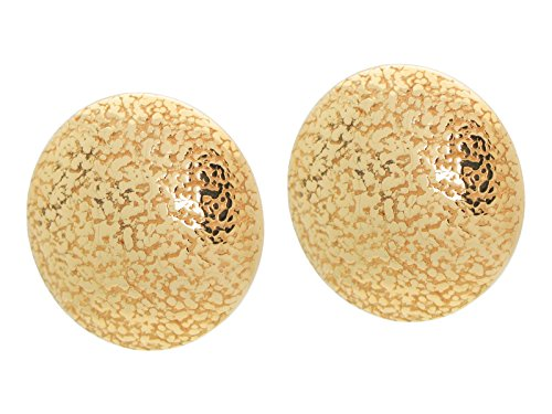 Fronay Co .925 Sterling Silver Large Grafiato Button Earrings dipped in 18k - New Store York In Macys