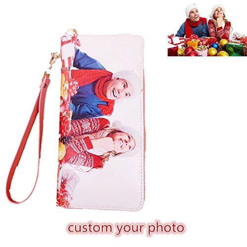 - Personalized Photo Top-Grain Leather Wallet Wallets for Women Womens Wallet(Pink Single Side)