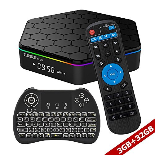 WISEWO Android TV BOX Smart Mini PC Media Box Amlogic S912 Octa Core UHD 4K2K/3D/ 3G/32G Set Top Box Media Player with Wireless Keyboard Backlight (Best 4k Kodi Box)
