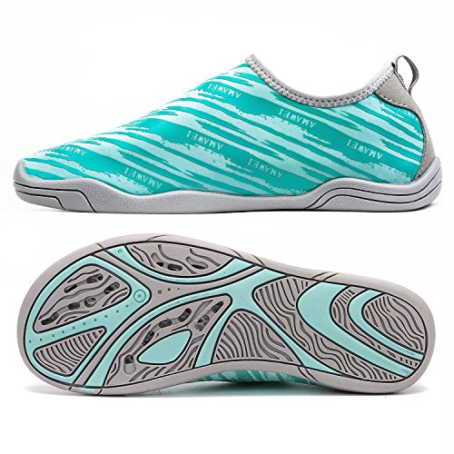 AMAWEI Quick Dry Water Shoes for Boys Girls Kids Rubber Sole Slip-on Swimming Pool Beach Sports Aqua Sneakers (35, 03.Lake Blue)