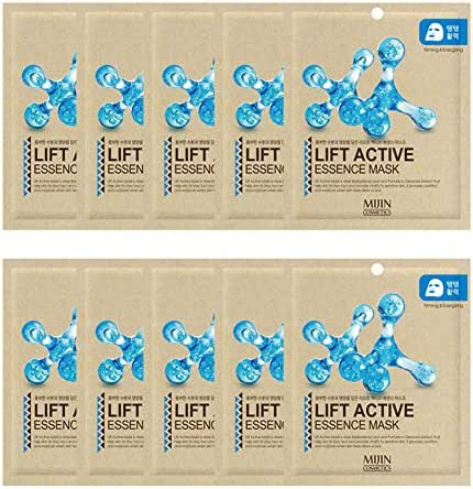 Highly-Concentrated Life Active Collagen Essence Full Face Facial Mask Sheet, Korean Beauty Cosmetics, 10 Pack