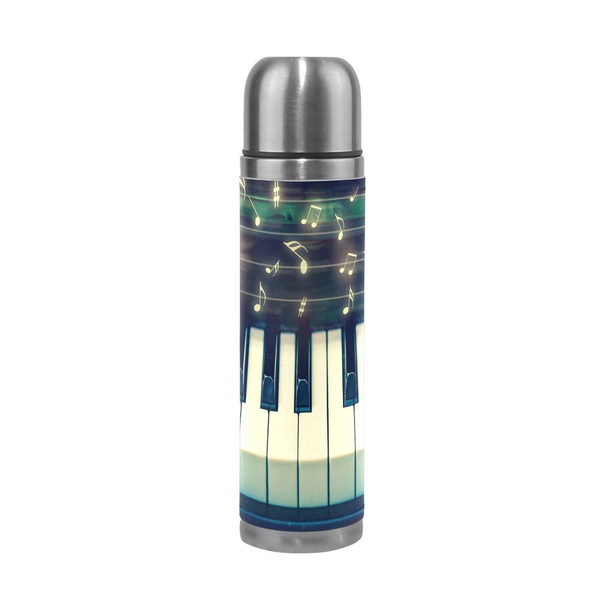 Alazaキーボードのピアノ音楽水ボトルステンレス鋼二重壁真空Insulatied Thermos Flaskリークプルーフ旅行コーヒーマグ本革カバー17 oz B075HRWBTJ