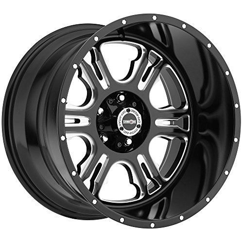 Vision 397 Rage Gloss Black Milled Spoke with Chrome Bolts Wheel with Chrome Finish (20x12