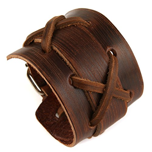 HZMAN Authentic Wide Leather Casual Mens Brown Cuff Bangle Bracelet (Brown)