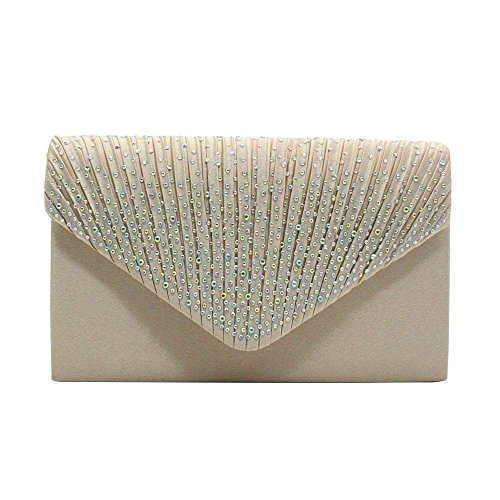 - Guozi Womens Rhinestone Frosted Envelope Clutch Purse Classic Pleated Satin Evening Handbag (Apricot)