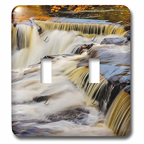 Metal Bond Clock (3dRose Danita Delimont - Waterfalls - Middle Branch of the Ontonagon River at Bond Falls Site, Michigan - Light Switch Covers - double toggle switch (lsp_279085_2))