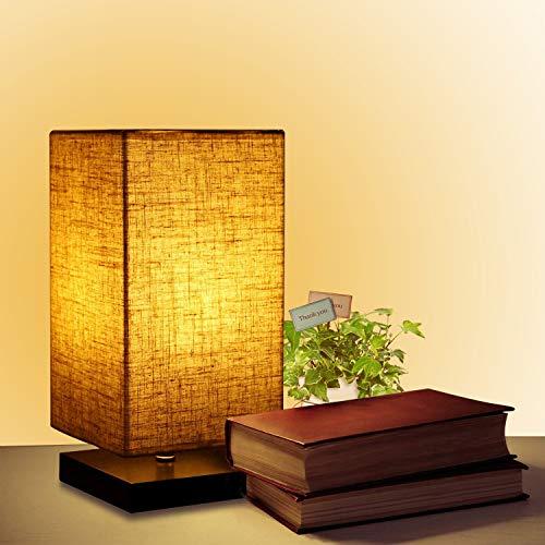 Modern LED Nightstand Bedside Table Lamps for Bedroom, Soft Eye-Care Minimalist Desk Reading Lamp,Square Solid Wooden Decorative Light for Living Room,Office,College Dorm Headboard Lighting