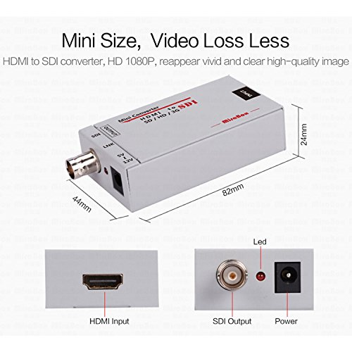 Mirabox HDMI to SDI Converter Scaler Adapter 1080P 1080i 720P 576i 480P MINI 3G with Coaxial Audio Output for Home Theater Cinema PC HD (Grey) by Mirabox (Image #2)