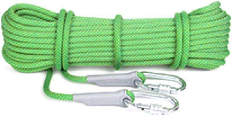 クライミングロープ、多用途家庭用ロープ10.5mm径、25KNエスケープ高抵抗ロープ40mロング屋外ラペリングアブセーリングアクセサリー(カラー:緑、サイズ:40m) 緑 40m