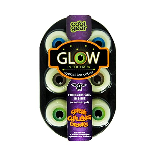 Cool Gear 6 Glow in the Dark Eyeball Ice Cubes (Non Toxic Gel) Serve Chilling Drinks (Glow Drink)