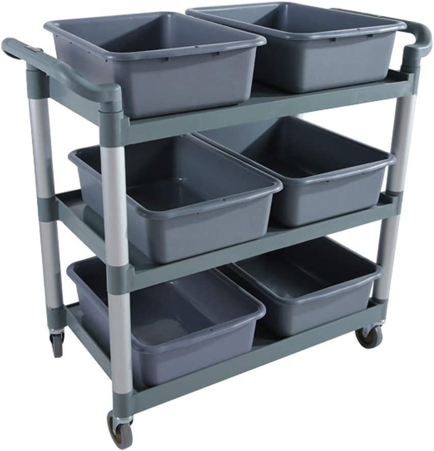 Hotels 53/×38/×15Cm Cleaning Trolly Service Trolly CSS Trolley-Tableware Collection Cart with 6 Basins Silent Caster Canteens,Grey for Restaurants