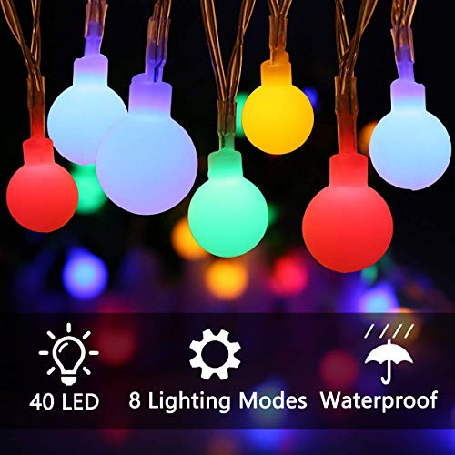 ECOWHO Battery Operated String Lights, 15ft 40 LED Waterproof LED Starry Fairy String Lights Indoor Outdoor for Garden Patio Wedding Party Home Decoration, 8 Lighting Modes?Multicolor?