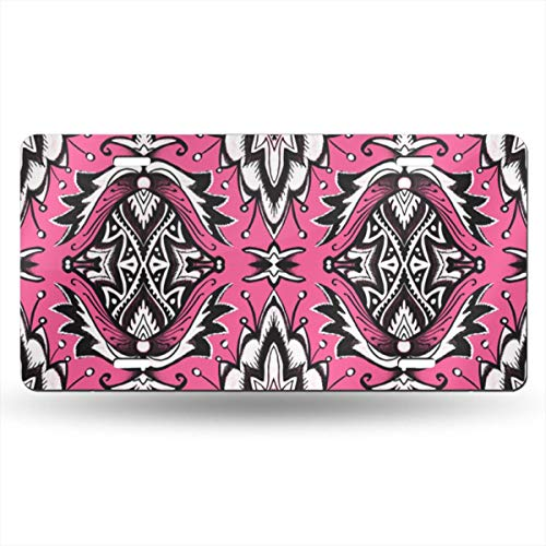 WHAOJ Personalized Ink and Black Girly Glam Damask Wallpaper Car License Plate Auto Tag