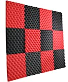 12 Pack- Red/Charcoal Acoustic Panels Studio Foam Egg Crate 1