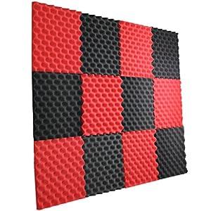 """Flashandfocus.com 51W9J921ZoL._SS300_ New Level 12 Pack- Red/Charcoal Acoustic Panels Studio Foam Egg Crate 1"""" X 12"""" X 12"""""""