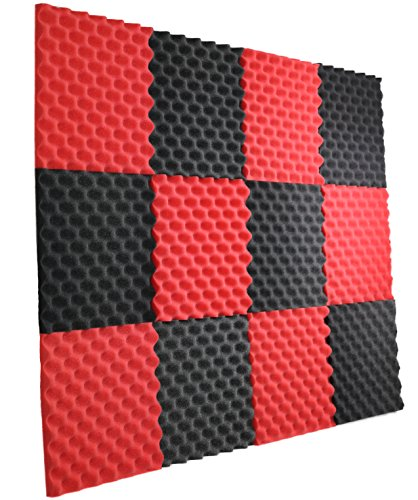 12 Pack- Red / Charcoal Acoustic Panels Studio Foam Egg Crate 1.5