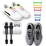 GTQ Elastic No Tie Reflective Shoe Laces with Waterproof Rubber Flat Running Shoelace (Pack of 2) for Kids & Adults. Great for Runners, Adults,Children, Older Generation,Athletes
