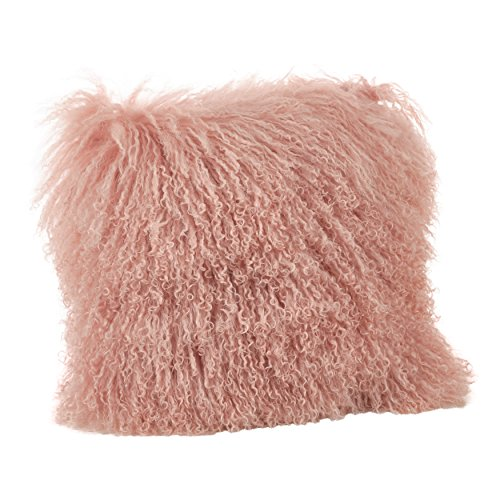SARO LIFESTYLE Collection Mongolian Lamb Fur Wool Throw Pillow, 20'', Rose by SARO LIFESTYLE