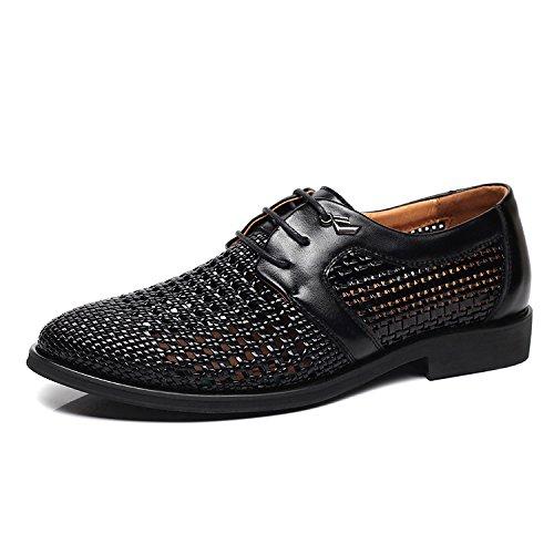 Los Nuevo Negocios Ocasionales Cuero Black Sandalias Zapatos Respirables De Hoyo Verano Vestido Hombres Huecas Yxlong Z0wPxqq