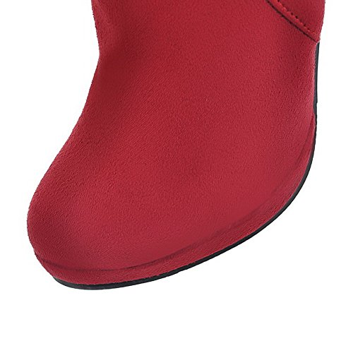AgooLar Women's High-Heels Solid Round Closed Toe Frosted Pull-On Boots Red zUzeP5F26v