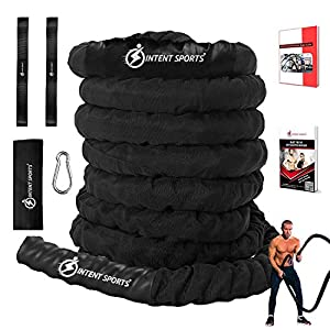 Well-Being-Matters 51W9JPLKwBL._SS300_ INTENT SPORTS Workout Battle Rope – Pro Warrior Rope with Anchor Strap Kit, Protective Sleeve - Poly Dacron Power Rope…