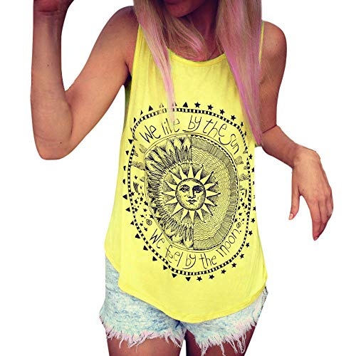 Aniywn Women Loose Sleeveless Vest Sun Printed Casual Round Neck Tunic Tank Tops - Monogram Boutique Custom