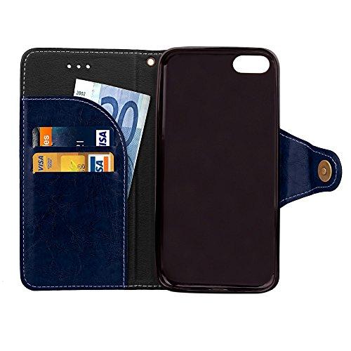 JIALUN-carcasa de telefono Estuche de cuero retro del estilo del negocio del estilo Cierre magnético del botón Cubierta de lujo de la caja de la bolsa del soporte de la carpeta con el acollador para e Blue