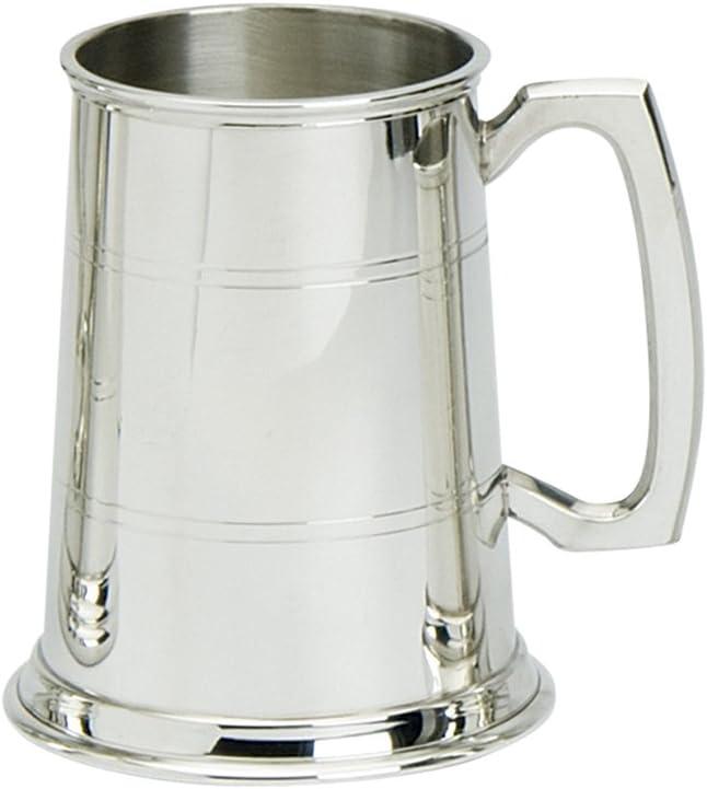 Jarra de Cerveza de 1 Pinta Edwin Blyde & Co, con Base de Metal Macizo, Cuerpo con Dos Rayas con Tradicional Mango estándar, de Peltre
