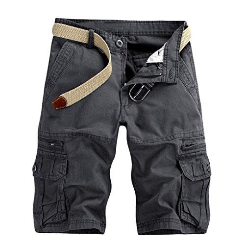 vermers Hot Sale Men's Cargo Shorts Casual Pure Color Outdoors Beach Short Pants Work Trouser with Pocket(33, Dark Gray) by vermers