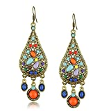 Elakaka Retro Bohemian Droplets Color Dress Earrings