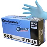 BOX OF 100 BODYGUARDS 4 BLUE NITRILE MEDIUM POWDER FREE DISPOSABLE GLOVES 8952