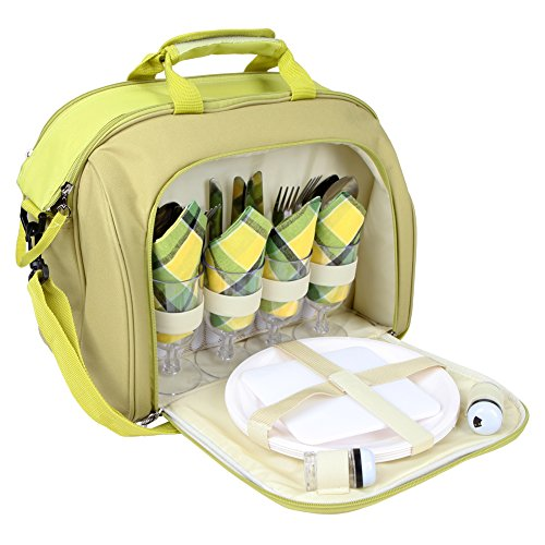 Yodo Picnic Basket - 4 Person Cutlery Set - Cooler Tote Insulated Food Compartment perfect for hikes, beach, parks, concerts, Lime