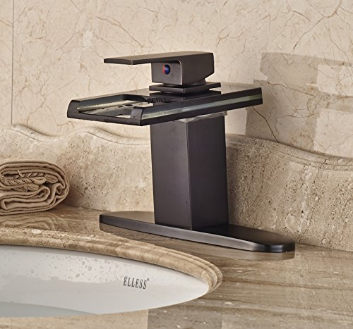 Rozin LED Light Glass Spout Waterfall Bathroom Sink Faucet with 8'' Holes Cover Plate Oil Rubbed Bronze by Rozin (Image #1)