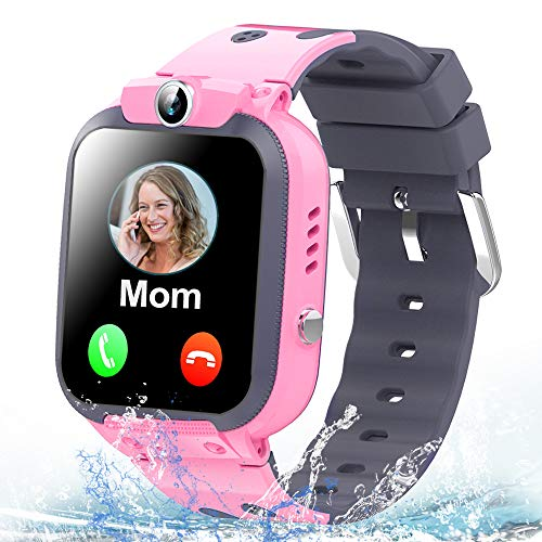 Kids Smart Watch Phone IP67 Waterproof GPS Tracker for Girls Boys with Two Way Call SOS Alarm Clock Match Games Front Camera 1.44