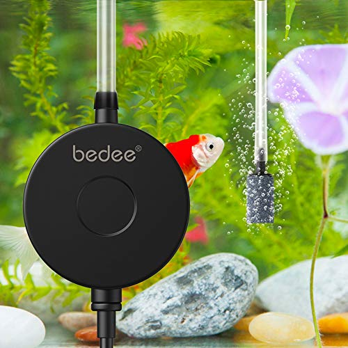 bedee Aquarium Air Pump, Quiet Fish Tank Air Pump, Small Oxygen Pump for Fish Tank 1-15 Gallon with Air Stone Check Valve Silicone Tube, 1W
