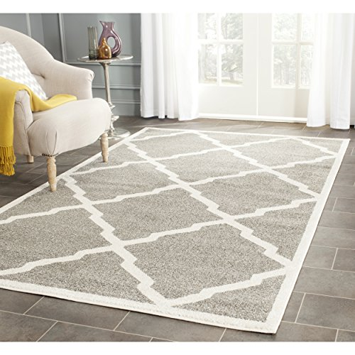 Safavieh Amherst Collection AMT421R Dark Grey and Beige Indoor/ Outdoor Area Rug (6' x 9') (6x9 Indoor Rugs Area Outdoor)